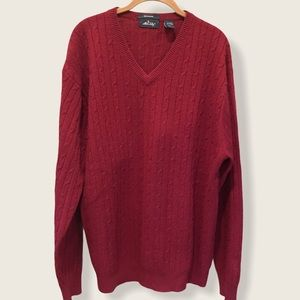 Allen Solly cashmere v-neck cable knit sweater XL